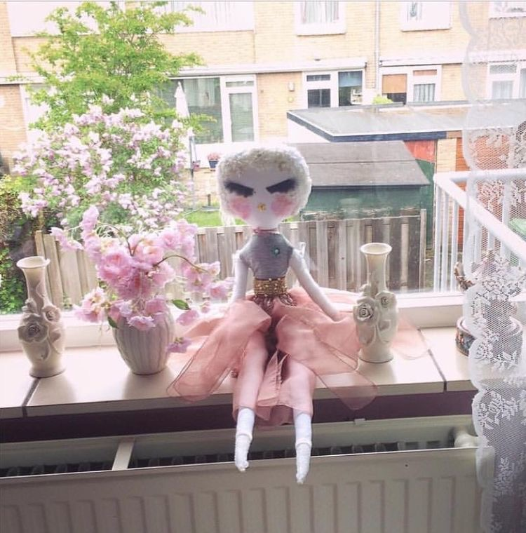 Blushing haute couture luxury doll