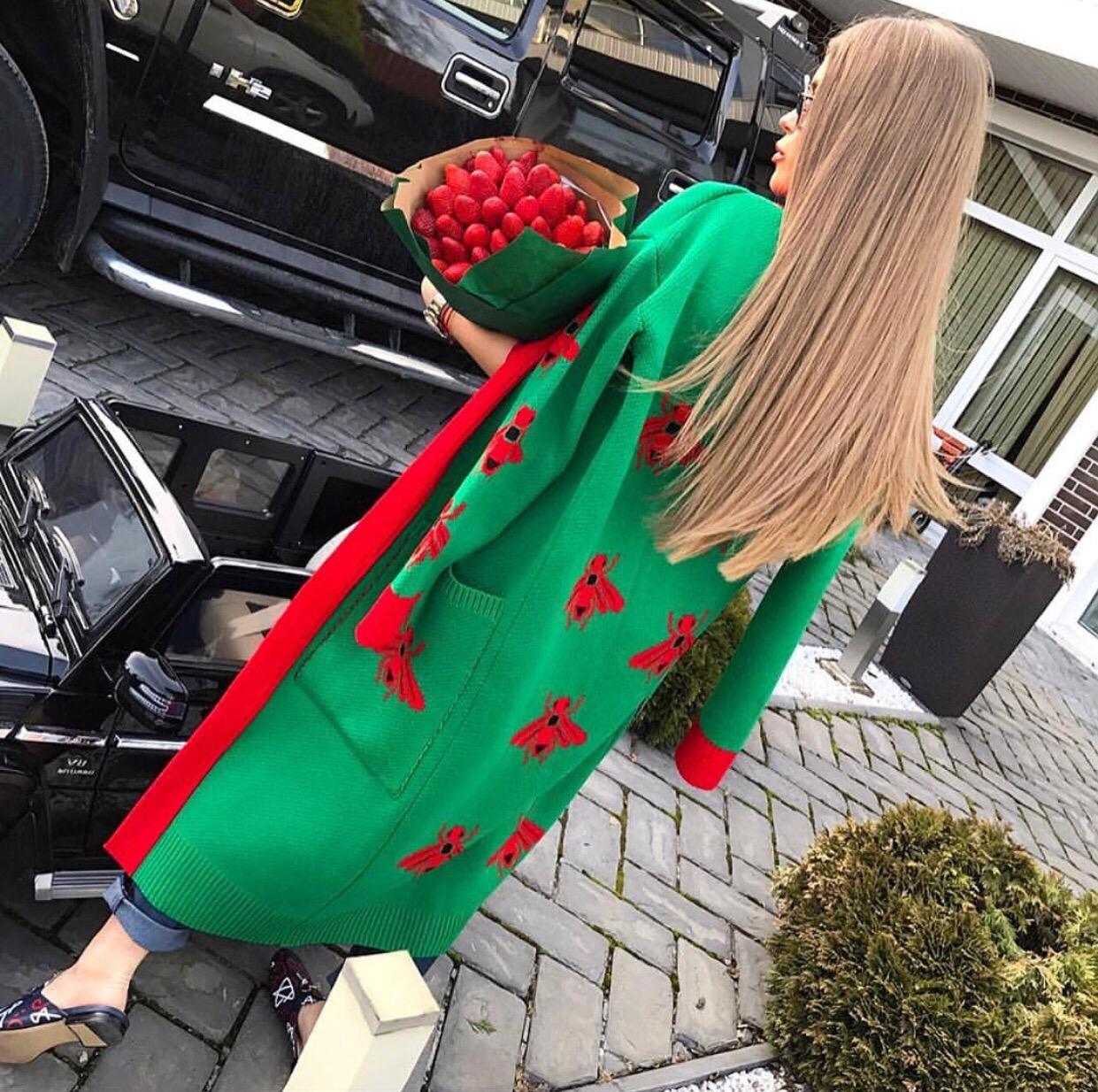 Luxury long bug embellished cardigan