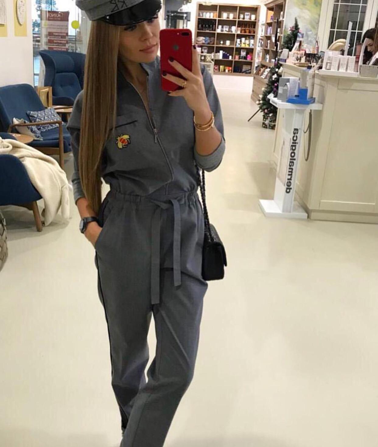 Grey jumpsuit look