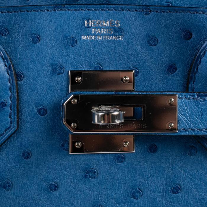 HERMES Birkin Bag 30cm Mykonos Ostrich Palladium Hardware