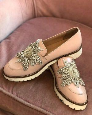 Embellished blush loafers