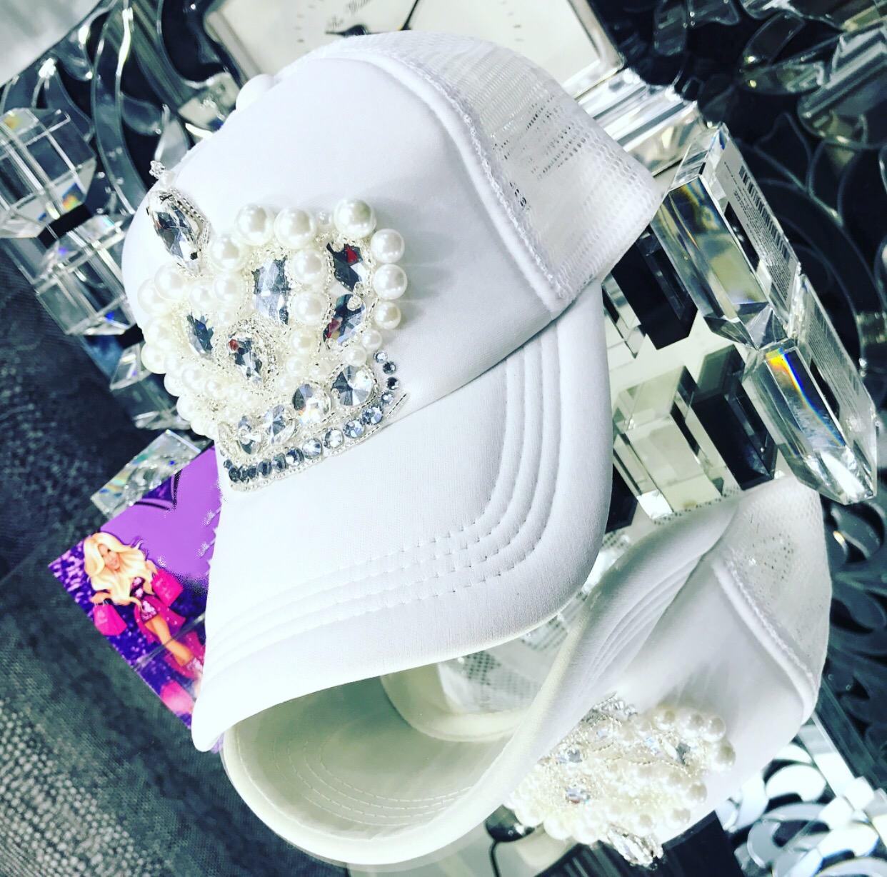 White embellished snapback