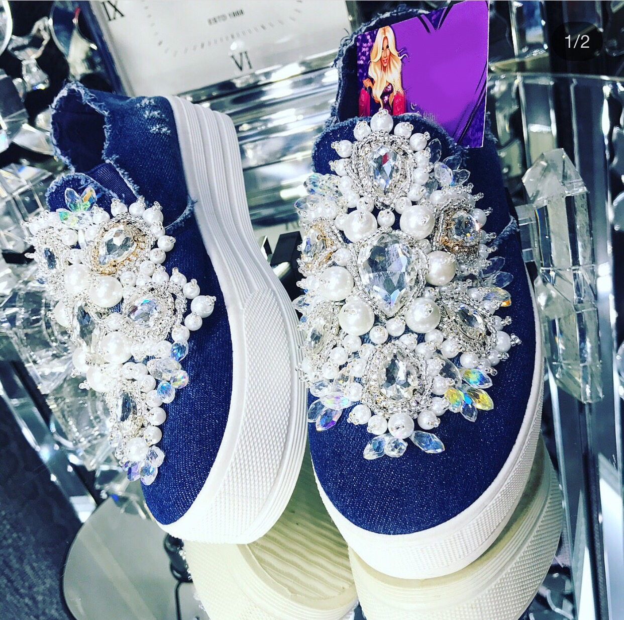 Luxury embellished womens loafers