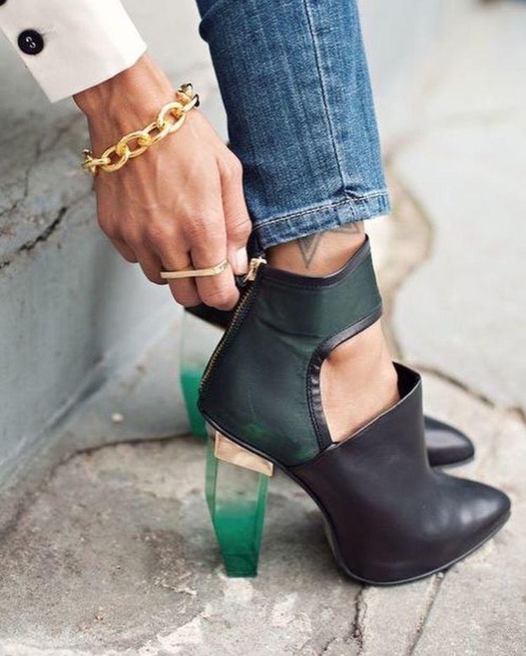 Glass heeled women's boots