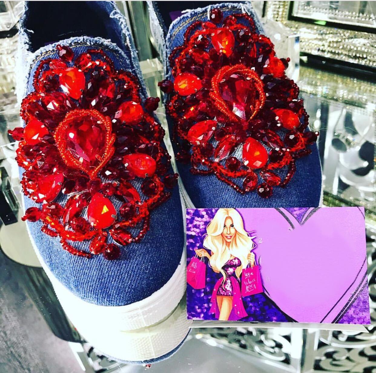 Embellished denim loafers