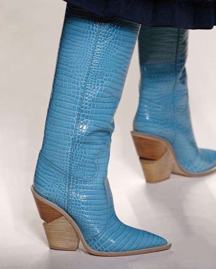 Blue Python boots