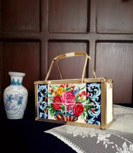 Hand painted rectangle bag