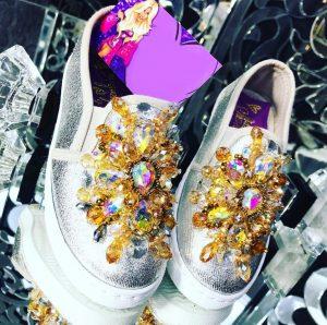 Silver embellished loafers