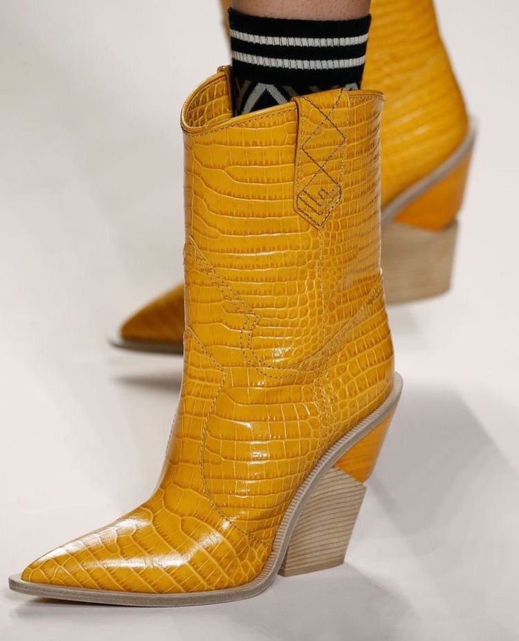 Mustard Python couture boots