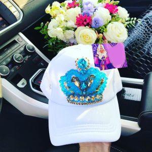 Luxury embellished white and blue snapback