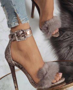 Posh fur high heel sandals