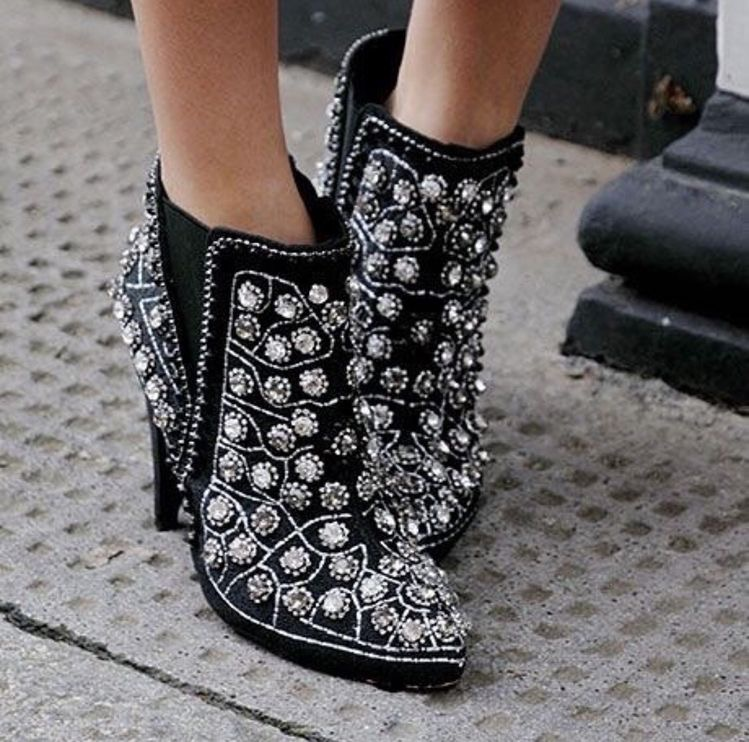 Gothic embellished black boots