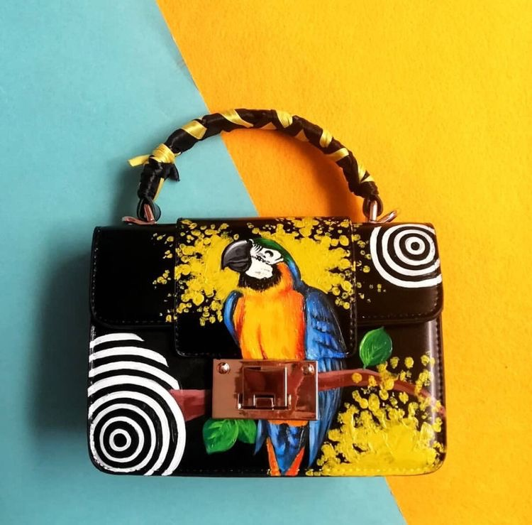 Hand painted parrot handbag