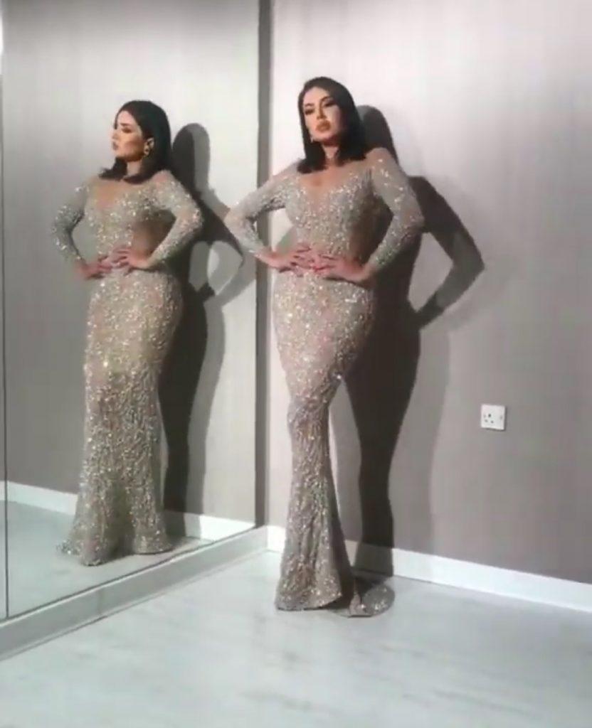 Silver glam evening dress