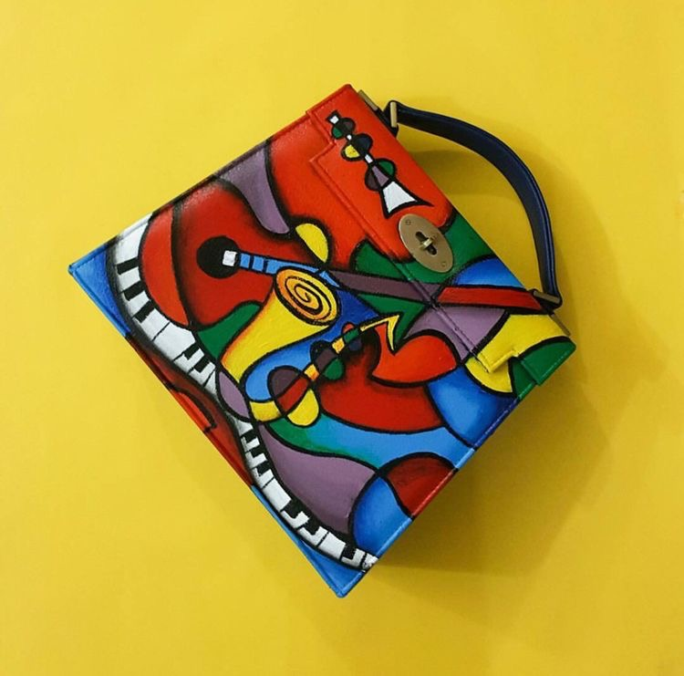Ethnic Abstract hand painted handbag
