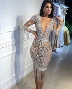 Heavily embellished silver fringe dress