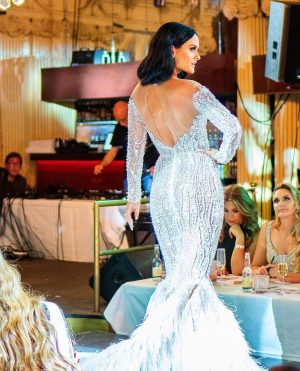 Ostrich feather silver beaded dress