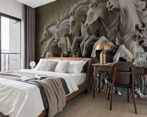 3D Embossed Cement Wallpaper Sculpture Horse Wall Mural