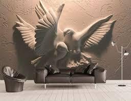 3D Embossed Sculpture Wallpaper Cement Pigeon Wall Mural Minimalist Home Decor