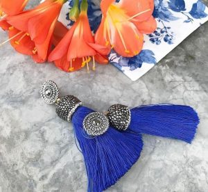 Blue Tassel Fringe Earrings