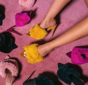 Colourful fur slip on heels