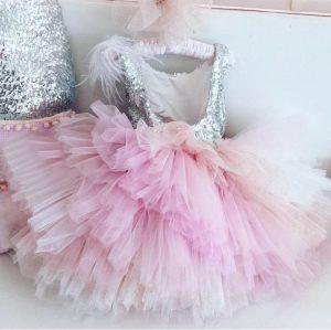Pastel tutu sequin kids couture dress