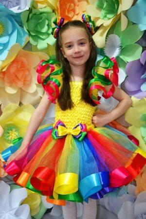 Ruffle rainbow kids couture dress
