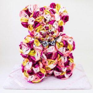 Silk rainbow rose teddy