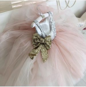 Pink diamond and gold bow kids couture dress