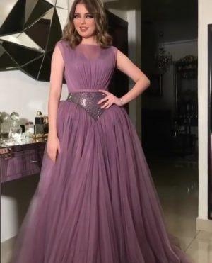Lilac glam evening dress