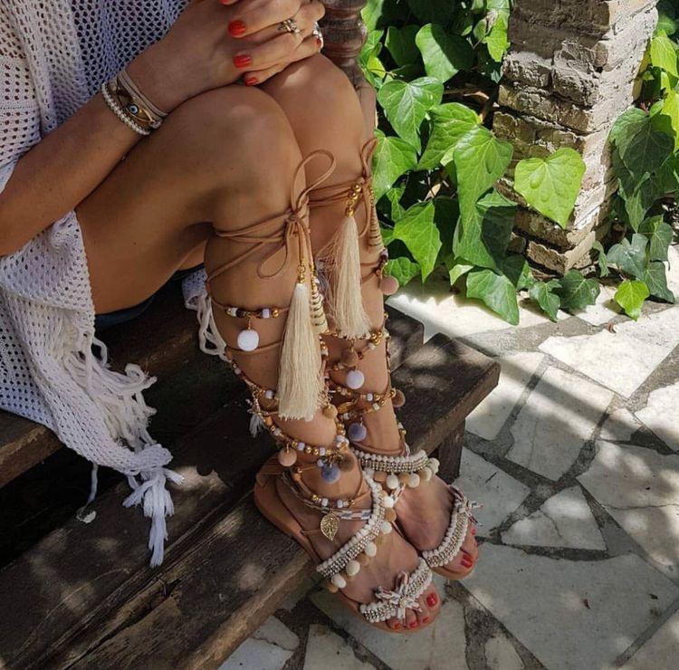 Luxury knee high handmade tribal brown sandals
