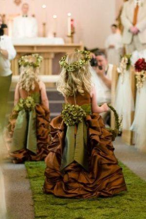 Beige flower girl garden dress
