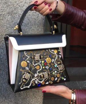 Embellished treasure leather bag