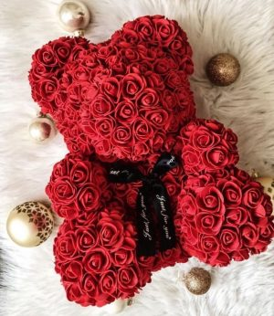Blood Red preserved rose teddy bear