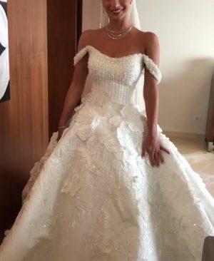 Floral detail sparkly wedding dress