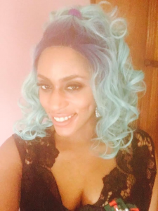 Blue luxury couture wig