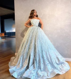 Pastel blue Ostrich Feather  couture dress