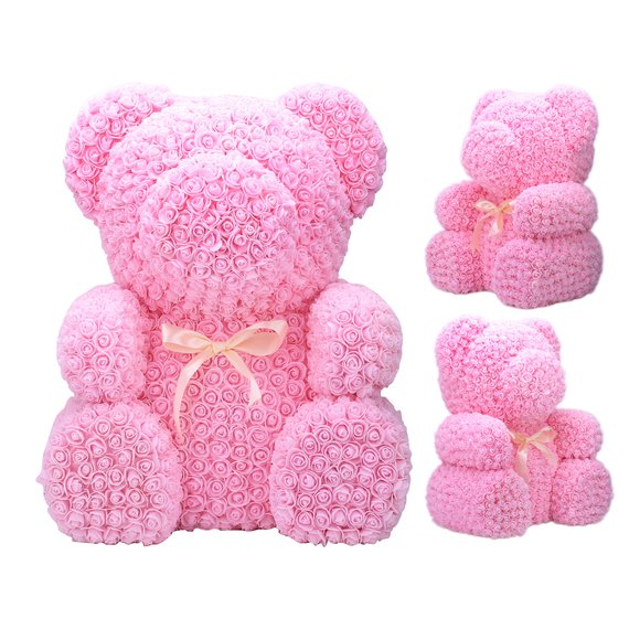 Giant pink preserved rose teddy