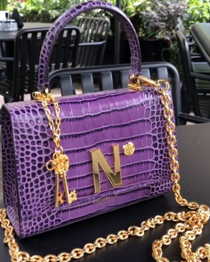 Purple exotic  leather bag
