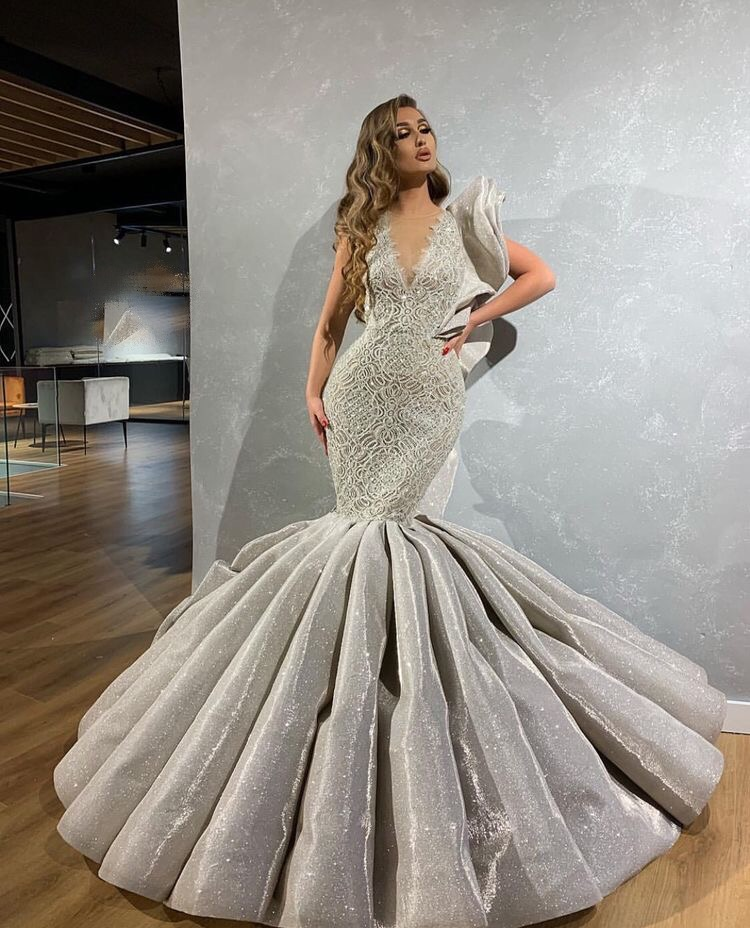 Champagne silver trumpet dress