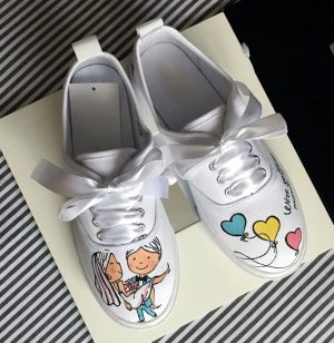 Hand painted wedding loafer custom shoes
