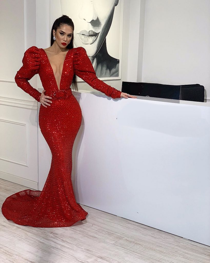 Red sparkly couture dress