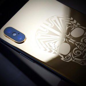 24 K gold customised skull IPhone X-XR