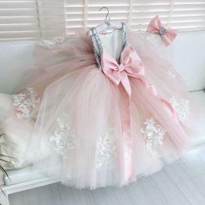 Super gorgeous pink and silver sequin girls ball gown
