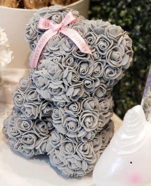 Luxury grey preserved rose bear