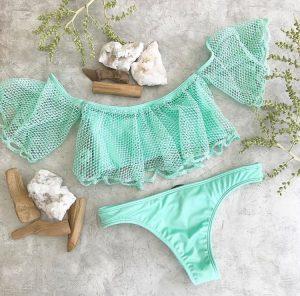 Stunning handmade sea green resort wear