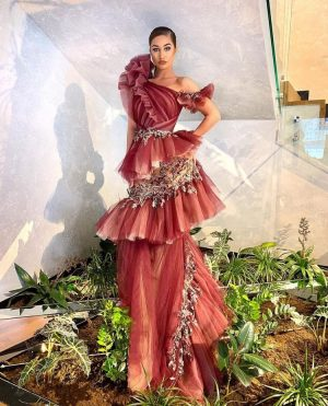 Red frilly couture fashion dress