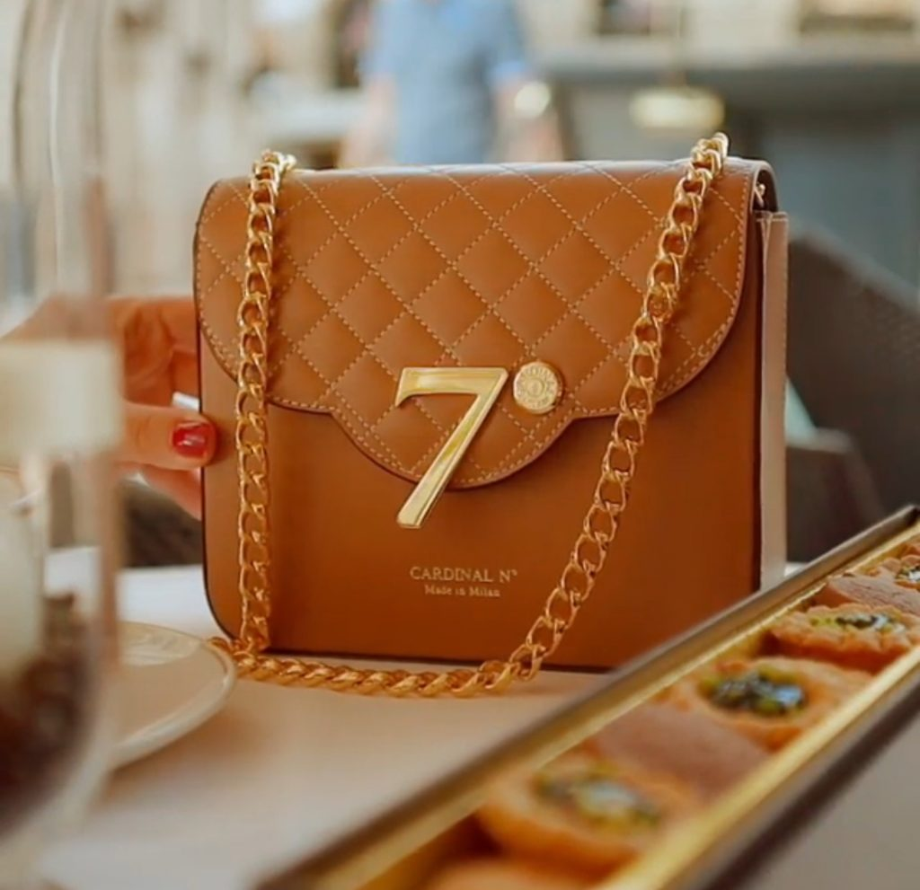 Quilted cognac leather luxury bag