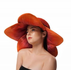 Hand dyed wide brim flower hat