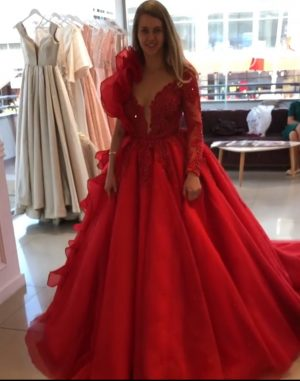 Opulent Extravagant red embellished ball gown